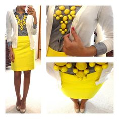 white cardigan, grey shirt, yellow skirt and yellow bubble necklace (Source: Hello Gorgeous) Hello Gorgeous Blog, Le Closet, Teaching Outfits, Mellow Yellow, Bright Yellow, Grey Yellow, Bright Colors, Colours, Business Attire