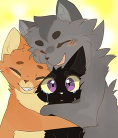 Firepaw, greypaw, and Ravenpaw. After he saw redtail's death.
