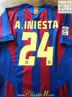 ac9ddddd7 Relive Andres Iniesta s 2005 2006 La Liga season with this Vintage Adidas Barcelona  home football