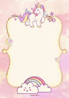 Download FREE Printable Golden Unicorn Birthday Invitation Template
