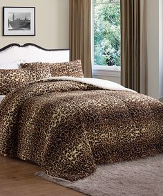 Look what I found on #zulily! Brown Animal Print Faux Fur Comforter #zulilyfinds