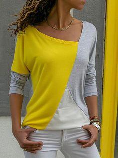 49c74474786 Women Fashion Stitching Loose Casual Autumn Shirt Casual Tops For Women