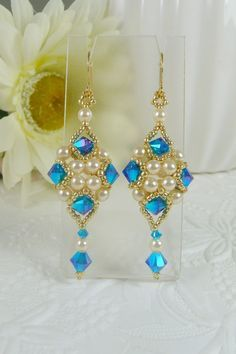 340280338a6d Woven Dangle Earrings with Swarovski Crystal Bright Blue ABx2