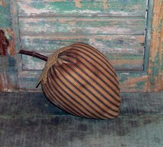 Rustic strawberry made from vintage ticking. Nice & grungy! Handmade by Prairie Primitives Folk Art.