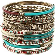 Amrita Singh Women's Eze Bangle Bracelet Set - Turquoise/Aqua, Size 6 ($29) ❤ liked on Polyvore featuring jewelry, bracelets, beads jewellery, beaded bangle bracelet, beaded bangles, turquoise blue jewellery and bangle bracelet