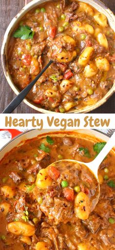 Vegan Recipes 35823 Hearty vegan stew Italian style featuring gnocchi dumplings, meaty jackfruit, peas and carrots and a thick red wine gravy. No beef, one pot comforting stew that checks all the boxes. Rich, savory and whole foods plant based recipe. Tasty Vegetarian Recipes, Vegan Dinner Recipes, Veggie Recipes, Whole Food Recipes, Soup Recipes, Diet Recipes, Cooking Recipes, Keto Dinner, Healthy Food For Dinner