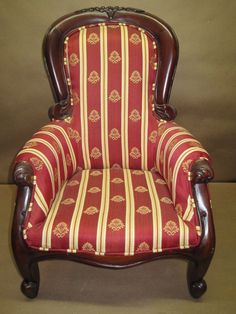 Doll/Bear Arm Chair Upholstered Red & Ivory Floral Fabric Victorian Style