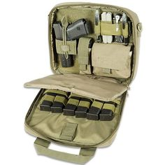 Pistol Case OD Green Includes Holster, Utility Pouch, Mag Pouch, 12x10x2.5 With 1/4 Padding Lockable Zipper