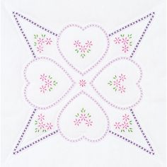 "Stamped White Quilt Blocks 18""X18"" 6/Pkg-Four Hearts"