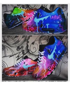 Original Nike Air Max 90 painted as Seen in the pics. Painted with acrylic Leather colours that will Last forerver on the shoes. Handpainted and exclusive. All sizes availlable. Air Max 90, Nike Air Max, Air Max Sneakers, Shoes Sneakers, Galaxy Fashion, Custom Shoes, Nike Custom, Shoe Art, Nike Huarache