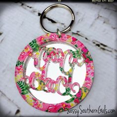 Acrylic Monogrammed Keychain Lilly Pulizter Inspired, Monogrammed Acrylic Key Chain, Monogrammed Keychain, Lilly Pulitzer Monogram on Etsy, $35.00