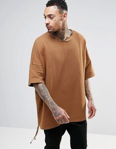 ASOS+Extreme+Oversized+Short+Sleeve+Sweatshirt+In+Camel