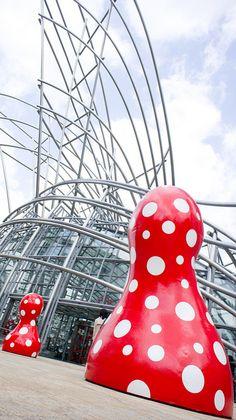 "Yayoi KUSAMA'S sculpture ""mushrooms"", Japan"