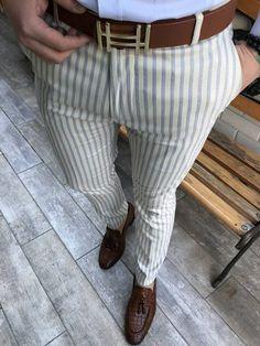 Cut Slim Fit Fashion Men's Striped Casual Pants – Everboo Mens Plaid Pants, Mens Slacks, Mens Fashion Suits, Fashion Pants, Casual Pants, Formal Pants, Slim Pants, Blazer Outfits Men, Pants Outfit