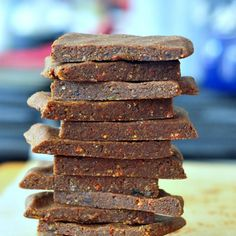 Ultra Energy Bars Recipe Desserts with raw almonds, cacao nibs, hemp seeds, goji berries, cacao powder, coconut, sea salt, dates