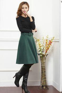 Aliexpress.com: Comprar Nueva llegada del otoño invierno de lana falda de las mujeres más tamaño falda larga de cintura alta faldas plisadas mujeres de winter wool skirts fiable proveedores en NICE DAYS