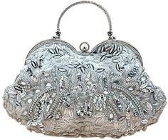 MissFox Women's Vintage Beaded Sequins Clutch Evening Bag Detachable Chain Handbag Silver