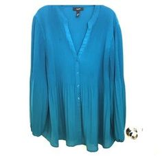 Alfani Tops - Teal Pleated Plus Size Alfani Top