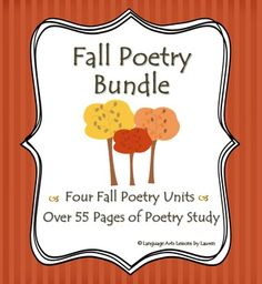 SAVE BIG! This Fall Poetry Bundle includes ALL of my fall poetry products for a great value! Fall is the perfect time of year for some poetry study, and upper-grade students enjoy seasonal poetry, too!   This bundle combines 4 products for over 55 pages of seasonal poetry study.