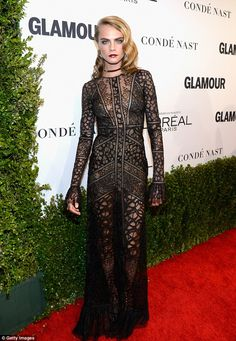 Fabulous! Cara Delevingne made sure to be the center of attention at the Glamour Women Of ...