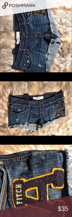 ABERCROMBIE AND FITCH SHORTS Basically brand new without tags. Size 4 Abercrombie and fitch shorts. I wore these once before summer ended and they didn't fit the next year. Cutest shorts I have ever seen! Abercrombie & Fitch Shorts Jean Shorts