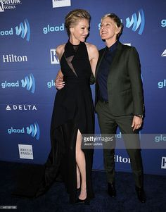 Portia de Rossi and Ellen DeGeneres attend the 26th annual GLAAD Media Awards at The Beverly Hilton Hotel on March 21, 2015 in Beverly Hills, California.