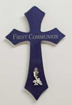 Blessed Sacrament | First Holy Communion Cross | Blue & Silver | Flared Ends