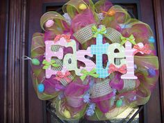 Easter colorful Deco Mesh Wreath by myfriendbo on Etsy, $79.00