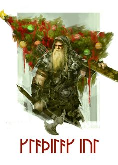 Greeting Cards for Jól/Yule, showing Ullr with a Christmas tree pillaged from a church... ;-)