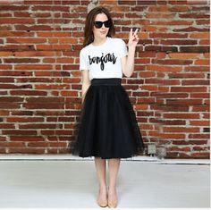 2016 Hot Sale Black Tulle Skirts A Line Knee Length Princess Party Ball Skirt