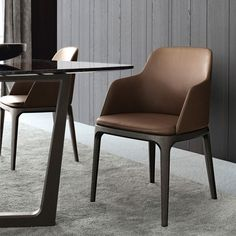 Leather chair with armrests GRACE by Poliform | design Emmanuel Gallina