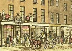 Cheapside 1813, East India House left. Regency shopping - At this time merchants serving the rich began to move into the Mayfair area but Covent Garden, Cheapside and Fleet Street were still havens for shopping.
