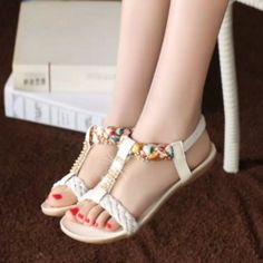 99f9ecfd3489 Lovely Jewel Knit Strap Casual Sandals Peep Toe Shoes
