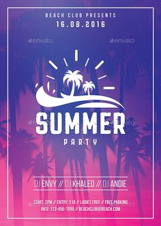 Summer Party Flyer Template PSD. Download here: https://graphicriver.net/item/summer-party-flyer/17446932?ref=ksioks