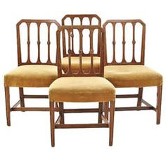 Set of Four Early 19th Century Carved Mahogany Chairs, Manner of Hepplewhite