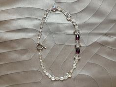 clear antique glass saucers NECKLACE faceted deep purple crystal cones + clear quartz pebble rectangles on Etsy, $43.00