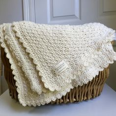 Pure and Simple Baby Blanket crochet pattern by little monkeys designs in cream