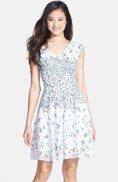 Betsey Johnson Print Lace Fit & Flare Dress