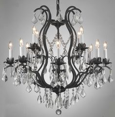 12 LIGHT CRYSTAL METAL OR WROUGHT IRON CHANDELIER DINING ROOM FOYER KITCHEN
