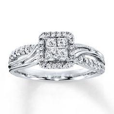 Diamond Engagement Ring 1/2 ct tw Princess-cut 14K White Gold