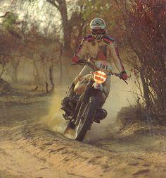 """Fenouil """"Jean-Claude Morellet"""" 1979, 1er Paris – Dakar sur BMW 800 Proto, 2ème au Général mais moteur cassé le jour de l'arrivée."""
