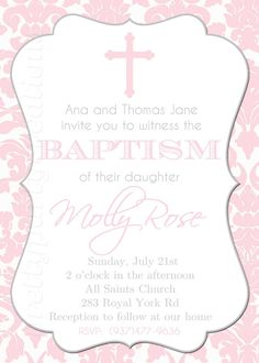PINK DAMASK BAPTISM invitation This would be cool for a boy and make them blue