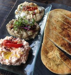 @Mezetto, Lower East Side, NYC ....  Mezetto's trio of dips served with za'atar flatbread ($21).