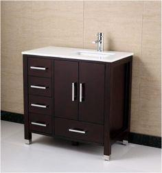 anziano 36 inch espresso bathroom vanity w quartz top left the vanity store