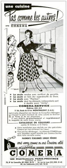 Original-Anzeige / Publicité 1955 - (en français) CUISINE COMERA -  ca. 110 x 260 mm