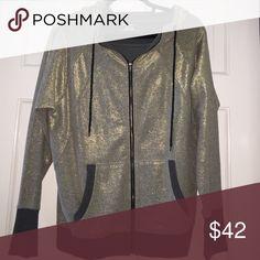 DKNY JEANS zip up hoodie DKNY JEANS dark grey and light gold zip up hoodie DKNY Tops Sweatshirts & Hoodies