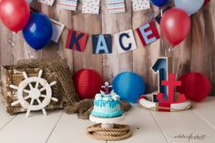 Nautical cake smash first birthday  Ashleigh Whitt Photography -  avon cleveland ohio cake smash photographer