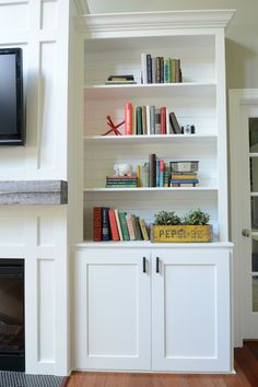 How to Build a Cabinet Door — Decor and the Dog Living Room Built In Cabinets, Living Room Built Ins, Living Room Shelves, Living Room Storage, New Living Room, Diy Cabinet Doors, Cabinet Decor, Diy Cabinets, Cabinet Hardware