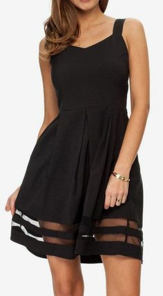 Black Wide Strap Contrast Gauze Sun Dress