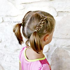 "127 Likes, 12 Comments - Little Girl Hairstyle Ideas (@l_r_hairstyles) on Instagram: ""Rope braids into pigtails. Still keeping it pretty simple until I get the hang of this short hair!…"""